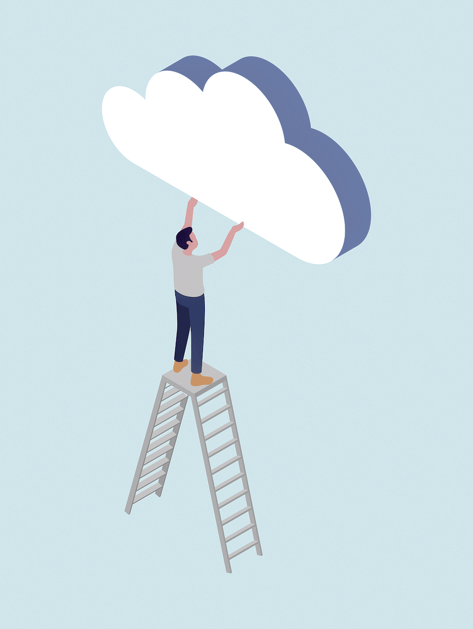 man holding up cloud on ladder